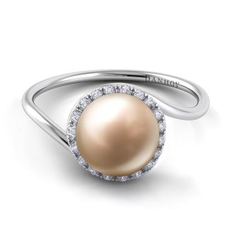 Danhov Abbraccio Swirl Pearl Diamond Ring in 14k White Gold