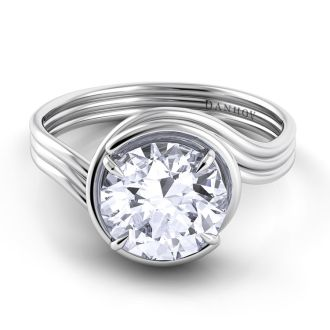 Danhov Abbraccio Award Winning Swirl Engagement Ring in 14k White Gold