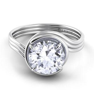 Danhov Abbraccio Award Winning Swirl Engagement Ring in 18k White Gold