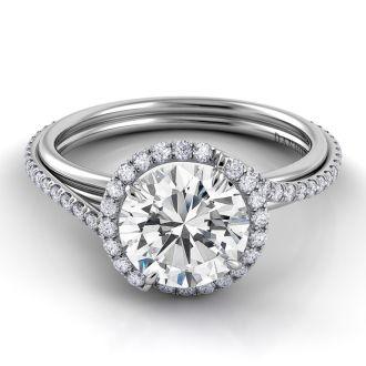 Danhov Abbraccio Swirl Engagement Ring in 18k White Gold