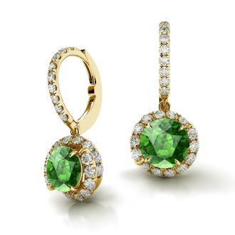Danhov Abbraccio Swirl Green Tourmaline Drop Diamond Earrings in 14k Yellow Gold