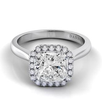 Danhov Classico Knife Edge Asscher Engagement Ring in 18k White Gold