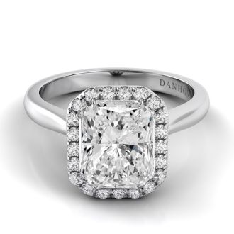 Danhov Classico Halo Emerarld Engagement Ring in 18k White Gold