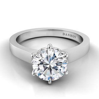 Danhov Classico Solitaire Engagement Ring Design in 18k White Gold