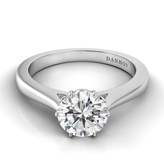 Danhov Classico Solitaire Engagement Ring Setting in 14k White Gold