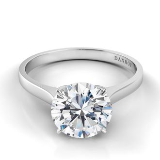 Danhov Classico Single Shank Handcrafted Engagement Ring  in 18k White Gold