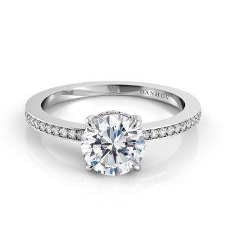 Danhov Classico  Classic Engagement Ring in 18k White Gold