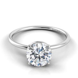Danhov Classico Single Shank Designer Engagement Ring in 18k White Gold