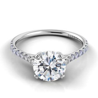 Danhov Classico Unique Handmade Engagement Ring in 18k White Gold