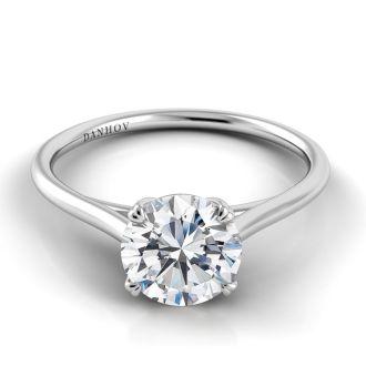 Danhov Classico Unique Designer Engagement Ring in 18k White Gold