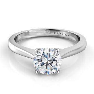Danhov Classico Unique Solitaire Engagement Ring in 18k White Gold