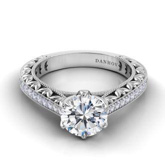 Danhov Petalo  Floral Designer Engagement Ring in 18k White Gold