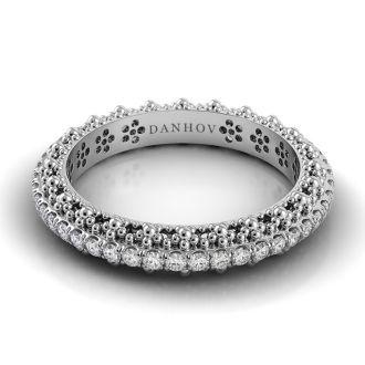 Danhov Petalo  Diamond Wedding Band for Women in 14k White Gold