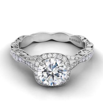 Danhov Petalo  Unique Designer Engagement Ring in 14k White Gold