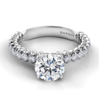 Danhov Petalo Single Shank Floral Engagement Ring in 18k White Gold
