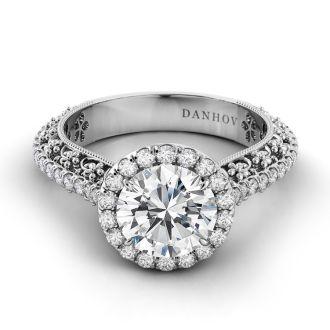 Danhov Petalo  Floral Engagement Ring in 18k White Gold