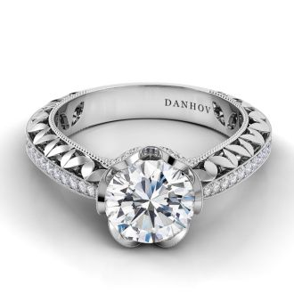 Danhov Petalo Floral Diamond Engagement Ring in 14k White Gold