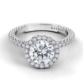 Danhov Petalo Engagement Ring in 18k White Gold