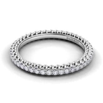 Danhov Petalo Round Handcrafted Diamond Wedding Band   in 14k White Gold