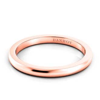 Danhov Per Lei  Flat Rose Gold Wedding Band in 14k Rose Gold