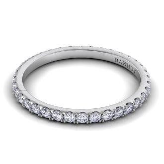 Danhov Per Lei Handmade Flat Diamond Wedding Band for Women in 14k White Gold