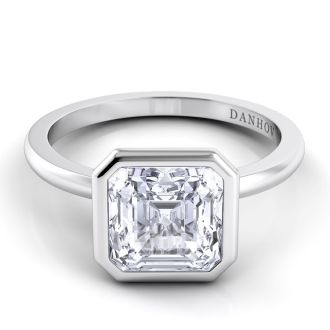 Danhov Per Lei Single Shank Asscher Engagement Ring in 14k White Gold