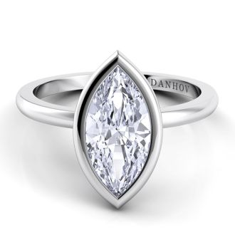 Danhov Per Lei Marquise Diamond Engagement Ring in 14k White Gold