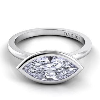 Danhov Per Lei Marquise Engagement Ring in 14k White Gold