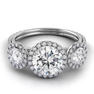Danhov Per Lei Three Stone Engagement Ring in 14k White Gold