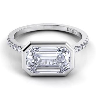 Danhov Per Lei Emerald Cut Engagement Ring in 14k White Gold