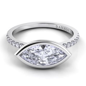 Danhov Per Lei Single Shank Marquise Engagement Ring in 14k White Gold