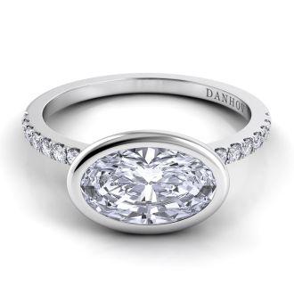 Danhov Per Lei Single Shank Oval Cut Diamond Engagement Ring in 14k White Gold