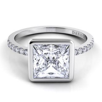 Danhov Per Lei Single Shank Princess-cut Engagement Ring in 14k White Gold