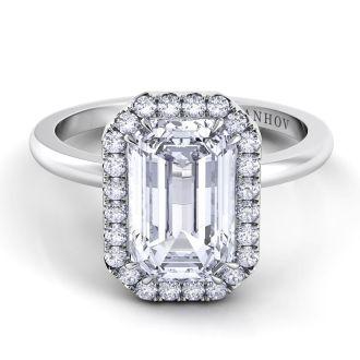 Danhov Per Lei Single Shank Emerald Engagement Ring in 14k White Gold