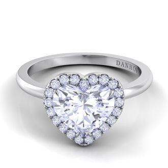 Danhov Per Lei Single Shank Heart Engagement Ring in 14k White Gold