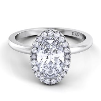 Danhov Per Lei Oval Cut Engagement Ring in 18k White Gold