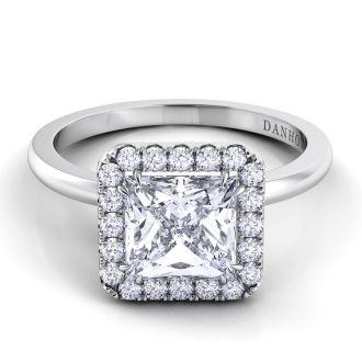 Danhov Per Lei Single Shank Princess-cut Engagement Ring in 18k White Gold