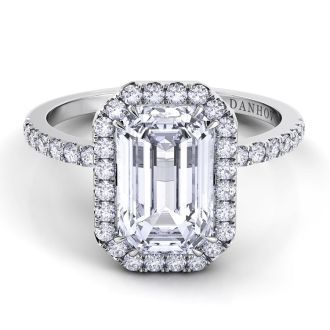 Danhov Per Lei Emerald Cut Engagement Ring in 18k White Gold
