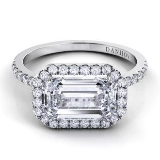 Danhov Per Lei Single Shank Engagement Ring in 18k White Gold