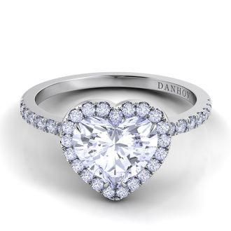 Danhov Per Lei Single Shank Heart Engagement Ring in 18k White Gold