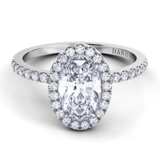 Danhov Per Lei Oval Engagement Ring in 18k White Gold