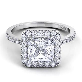 Danhov Per Lei Princess Cut Diamond Engagement Ring in 18k White Gold
