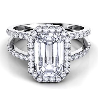 Danhov Per Lei Double Shank Emerald Engagement Ring in 14k White Gold