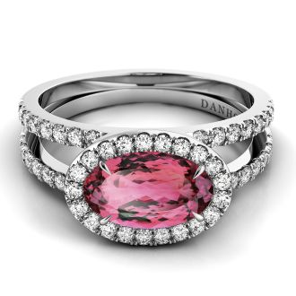 Danhov Per Lei Blush Topaz Split Shank Ring in 14k White Gold