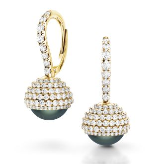 Danhov Trenta Limited Edition Black Pearl Diamond Earrings  in 18k Yellow Gold