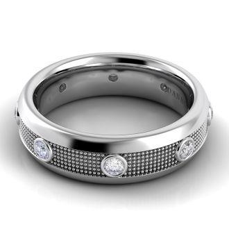 Danhov Pelote  Domed Diamond Wedding Band for Him in 14k White Gold