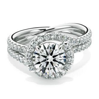 Danhov Abbraccio  Unique Swirl Engagement Ring in 14k White Gold