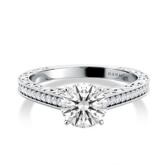 Danhov  Modern Engagement Ring in 14k White Gold