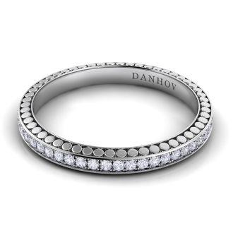 Danhov Tubetto Diamond Wedding Band for Women in 14k White Gold