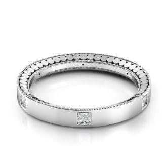 Danhov Tubetto  Domed Diamond Wedding Band  in 14k White Gold